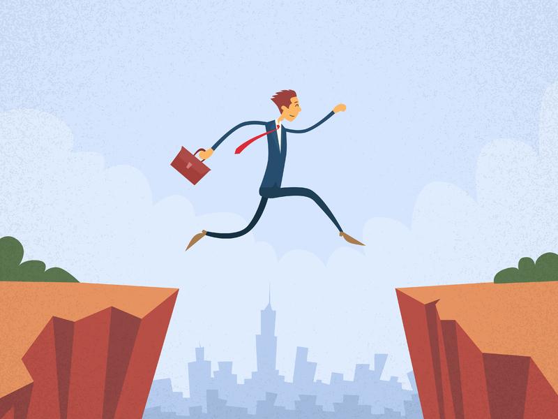 Un homme d'affaires faisant le saut.